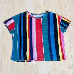 ZARA Colorful Artsy Printed Stripe Crop T-Shirt, S